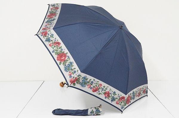 FA2162 eight ㈱エイト 高級折傘 USED美品 ほぐし織 バラ 日本製 47㎝ 折りたたみ傘 中古ブランド