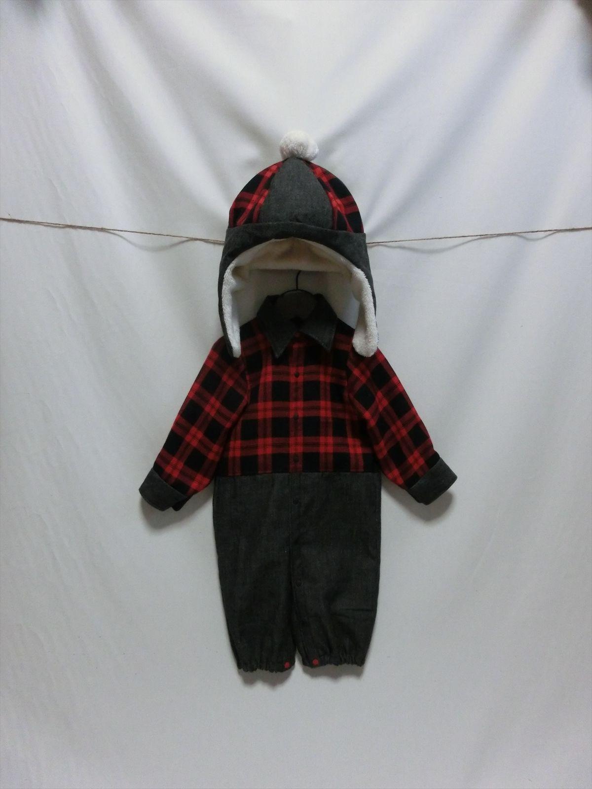 ブラックデニム×赤黒チェック カバーオール + もこもこ帽子