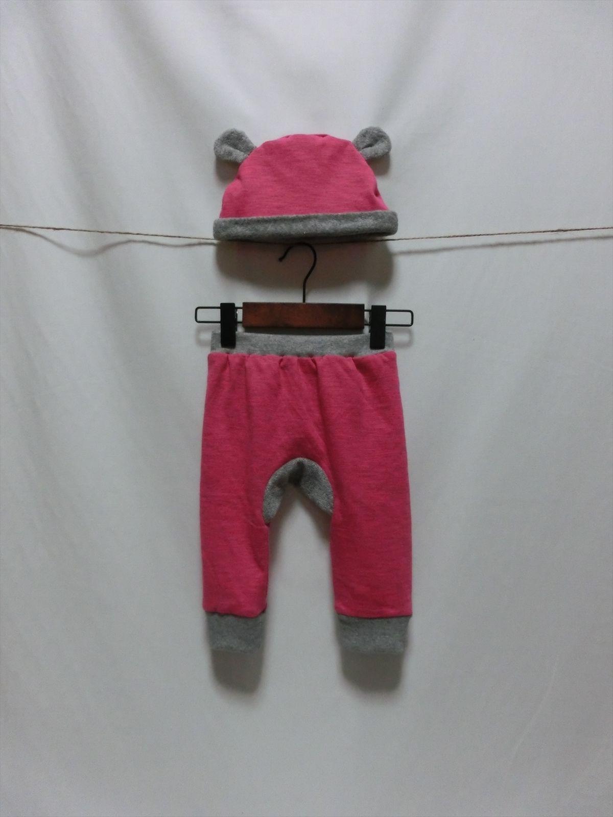 モンキーパンツ+耳付き帽子 ピンク