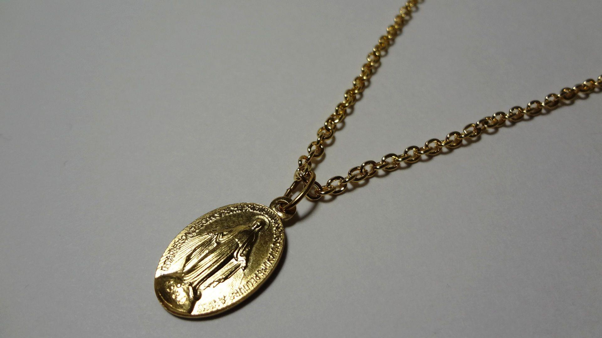 パリ 奇跡のメダイ教会 不思議のメダイ 金小ネックレス45cm
