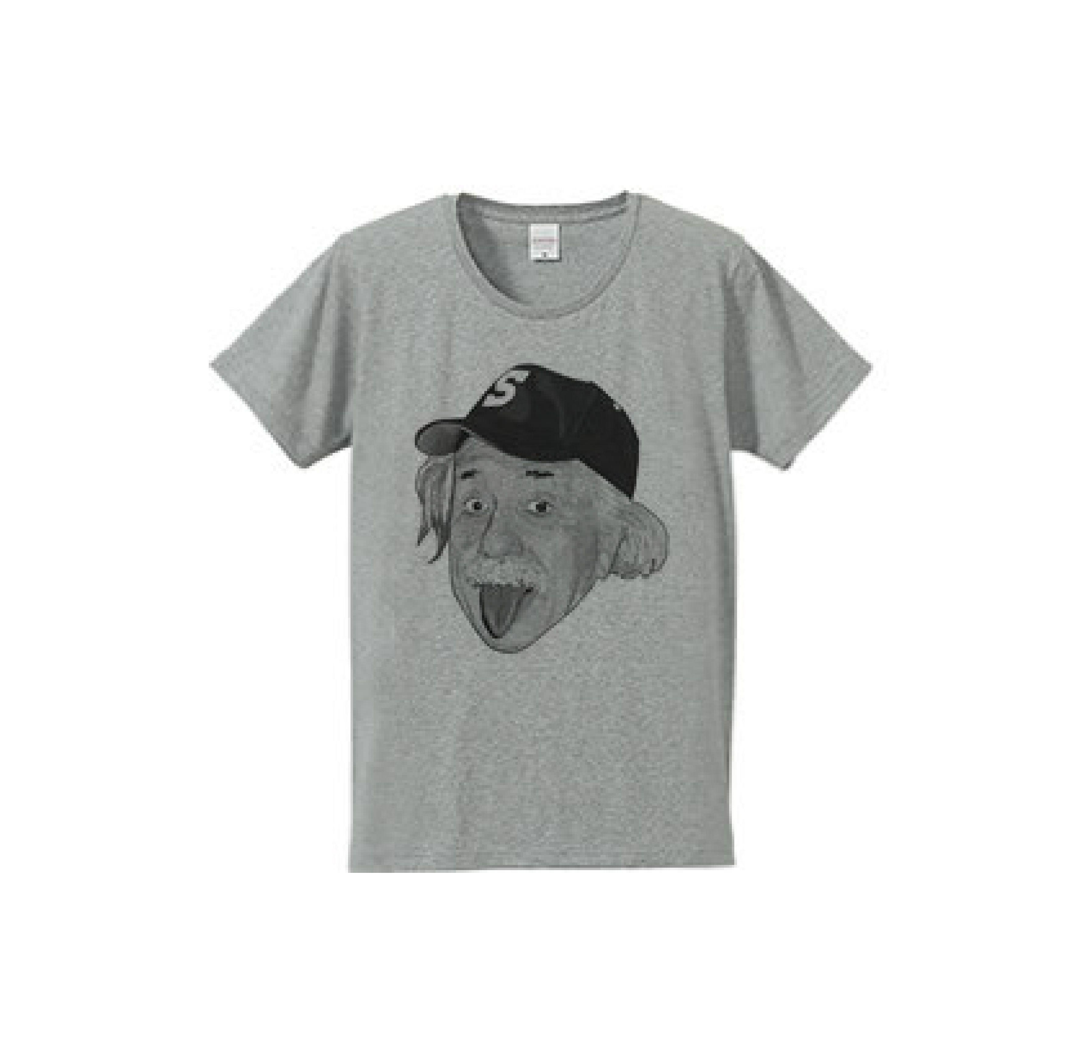 アルベルト・アインシュタイン・アウトドア モノクロ(4.7oz Tシャツ gray)