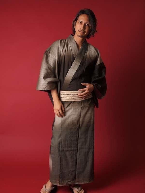 【浴衣+帯+下駄+腰紐】高級グラデーション・男性用お仕立て上がり浴衣4点セットum8119