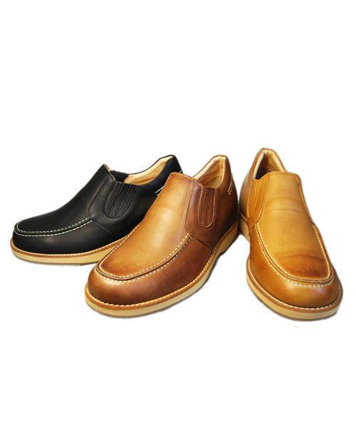 【5.5cmアップ】No.523牛革カジュアル'70 スリッポン サイドゴア シークレットシューズ ヒールアップシューズ 北嶋製靴工業所製