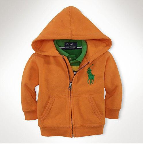 新入荷 人気 POLO RALPH LAUREN ポロ・ラルフローレン 子供 ジャケット パーカー 子供用 高品質 キッズ用 人気 上質 オレンジ