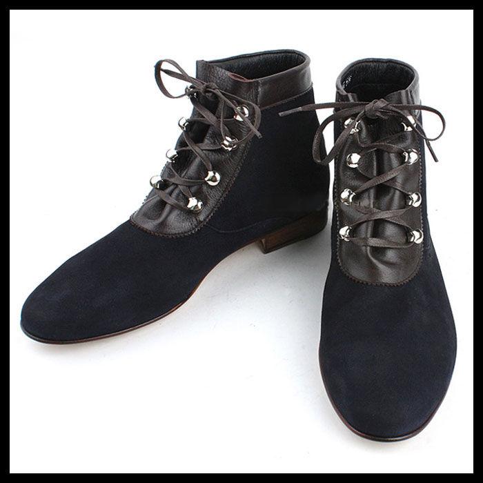 ハンドメイドスエードブーツ★mshj0064 ハンドメイド メンズ 靴 チャッカブーツ メンズ スエード ネイビー ブーツ メンズファッション スエード ブーツ メンズ handmade