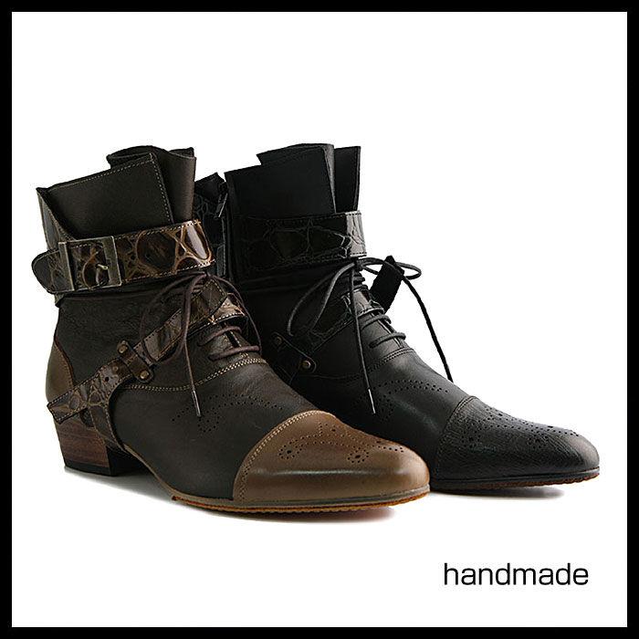 ベルト付きアンクルブーツ★mshl0119 ハンドメイド ベルト付き アンクル ブーツ メンズブーツ ウエスタンブーツ 本革 6cm ヒール ブーツ 紳士靴 ブラック 黒 ウエスタンブーツ