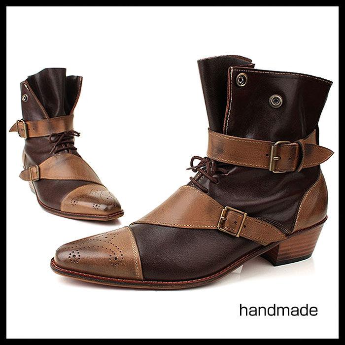 ベルト付きアンクルブーツ★mshl0120 ハンドメイド ベルト付き アンクル ブーツ メンズブーツ ウエスタンブーツ 本革 6cm ヒール ブーツ 紳士靴 ブラック 黒 ウエスタンブーツ