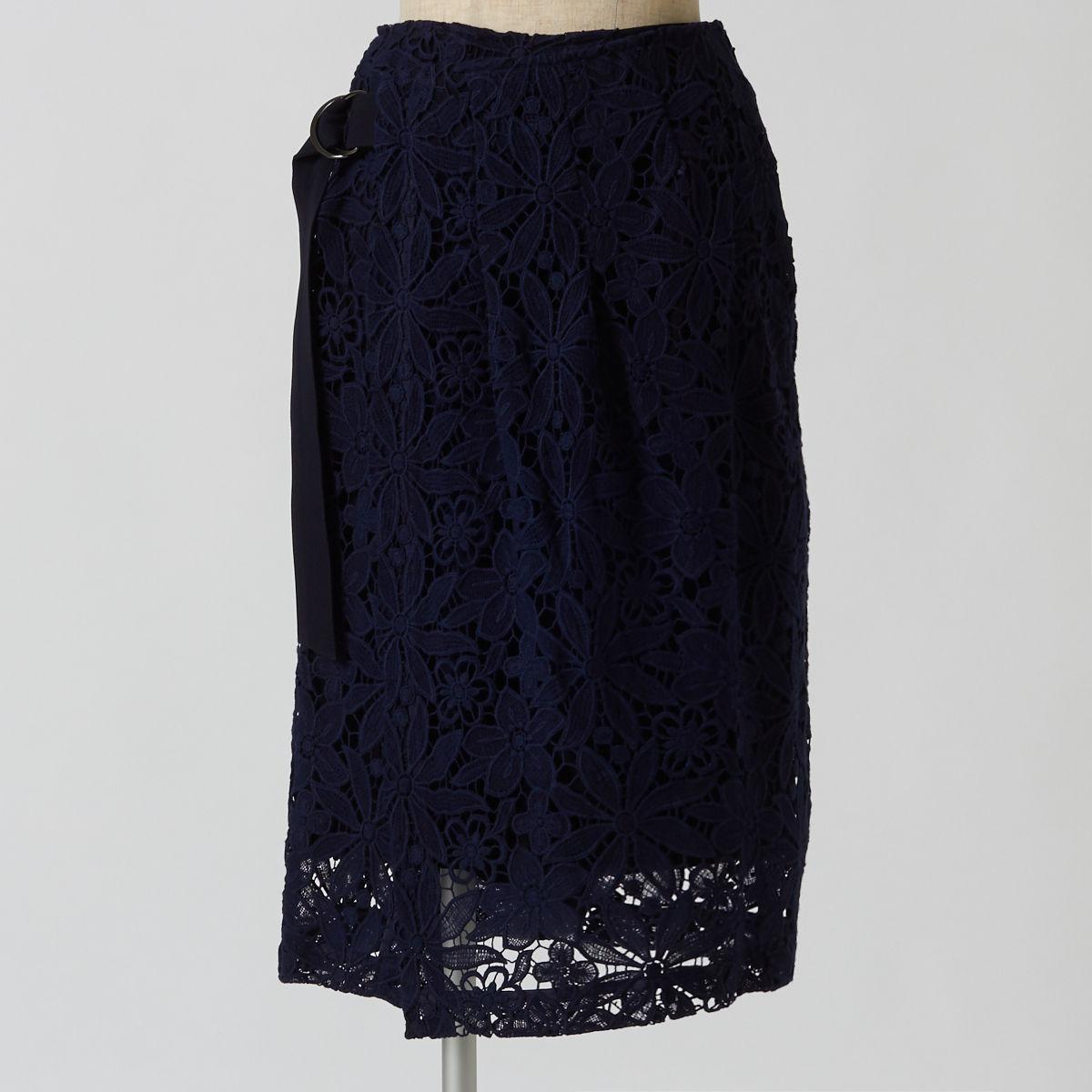 ラージフラワーレーススカート(ネイビー)
