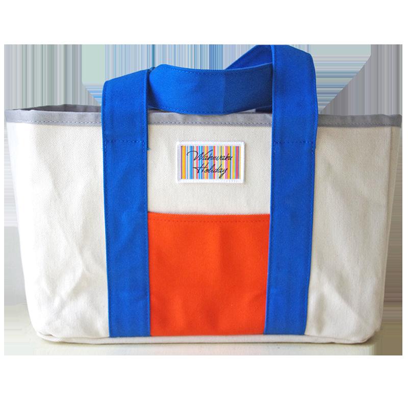 ハンドメイド1号帆布ビッグトートバッグト(ブルー×オレンジ/キャンバス)