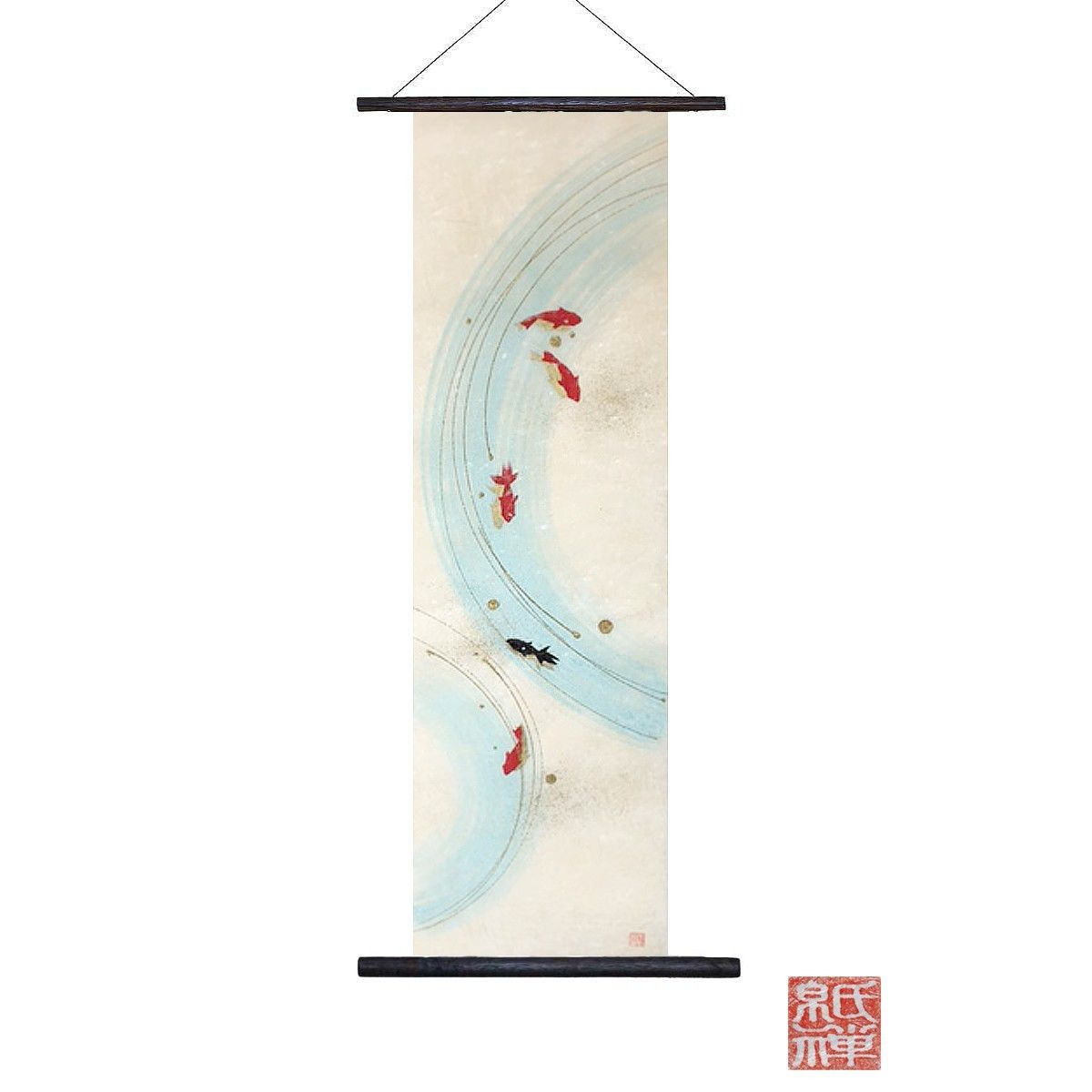 創作和紙 インテリアタペストリー「紙禅」~Shi-Zen金魚/Gold fish 1-01