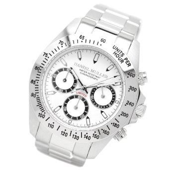 [ダニエル・ミュー ラー]DANIEL MULLER 腕時計 クロノグラフ メンズウォッチ DM-2003WH シルバー× ホワイト メンズ