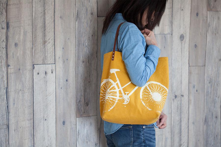 バイオウォッシュ帆布トートバッグ、自転車、マスタード