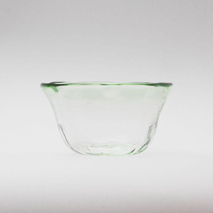 吹きガラス フリル小鉢(緑ぼかし)