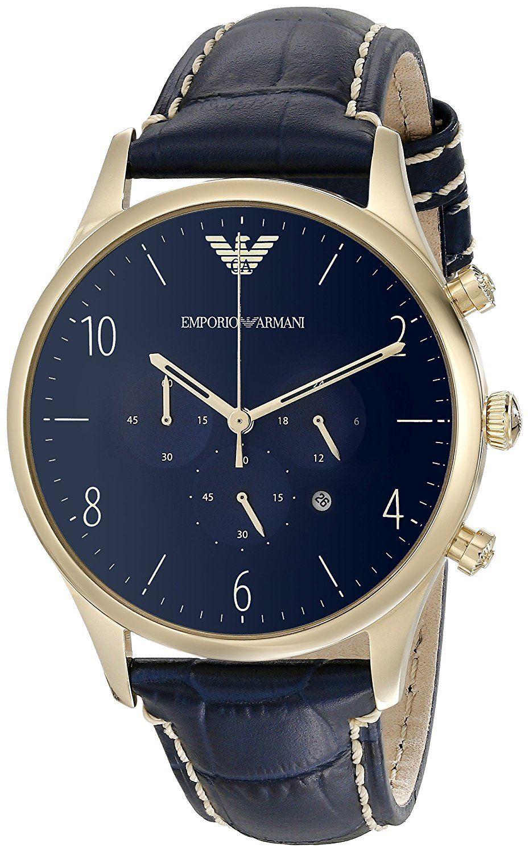 エンポリオアルマーニ/EMPORIO ARMANI メンズ 時計 【AR1862】ブルー×ゴールド/ブルーレザー