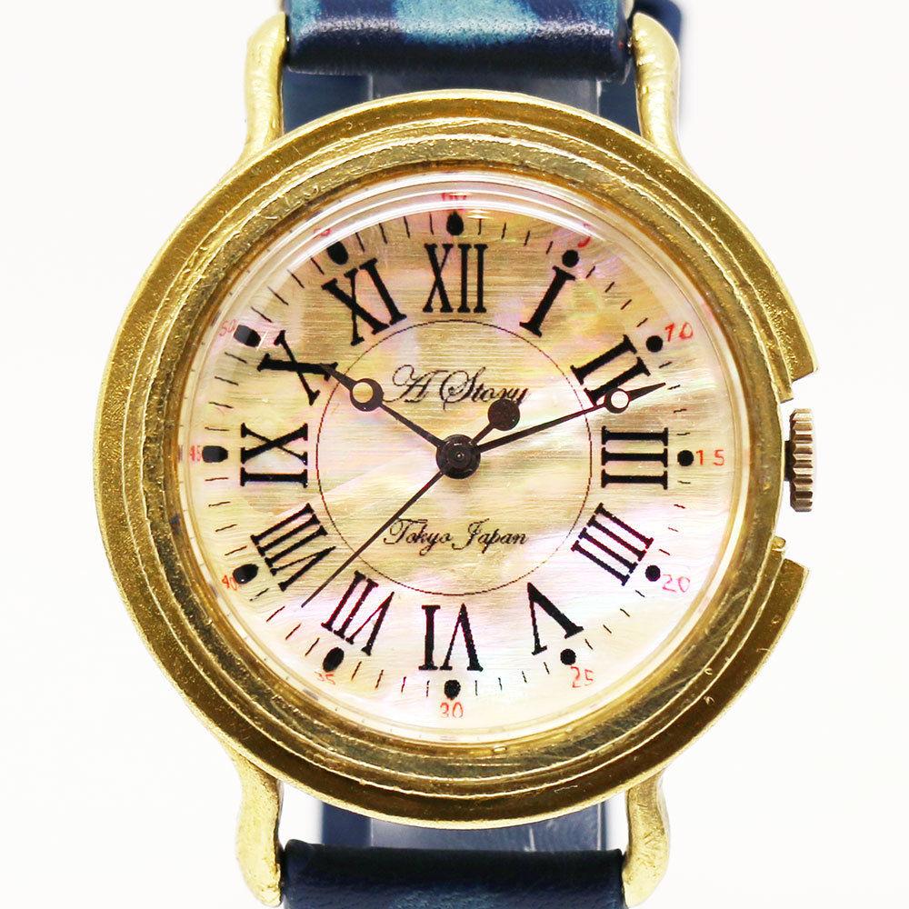 シェル文字盤の腕時計 Retro shell ローマ数字 メンズ レディース