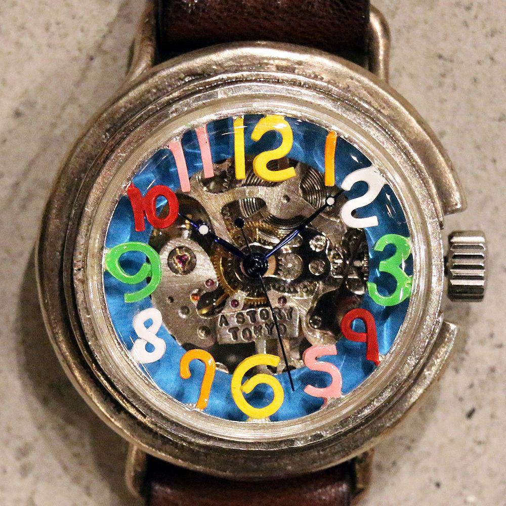 自動巻式 スケルトン 機械式腕時計 float see through 数字マルチカラー 文字盤ターコイズ シルバー925 オートマ