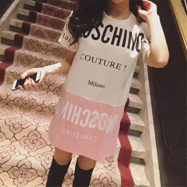モスキーノ好きに 夏新作 大人気 ミニワンピース 可愛い半袖 ロングTシャツ