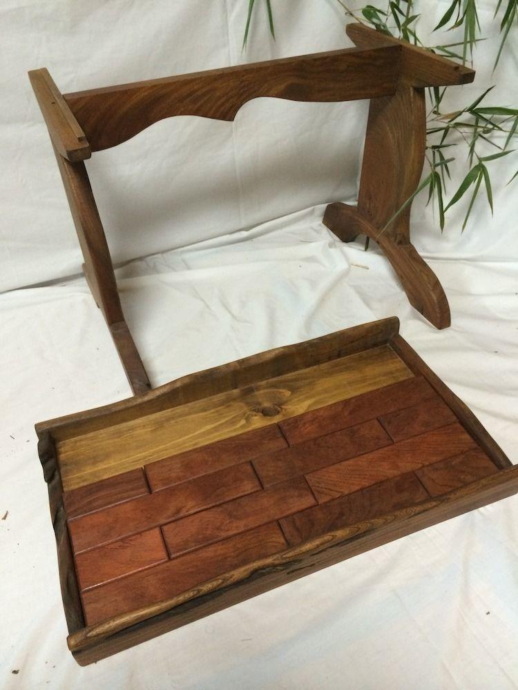 【テーブル】ケヤキ・アカ製:レンガ風の天板が取り外し可能な、和風テーブル