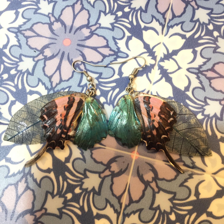 ⑫葉と蝶の標本ピアス(桃、水、青)