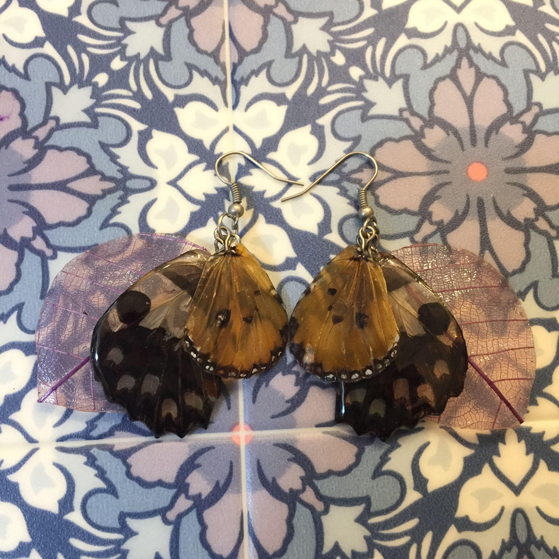 ⑥葉と蝶の標本ピアス(自然色、薄紫)