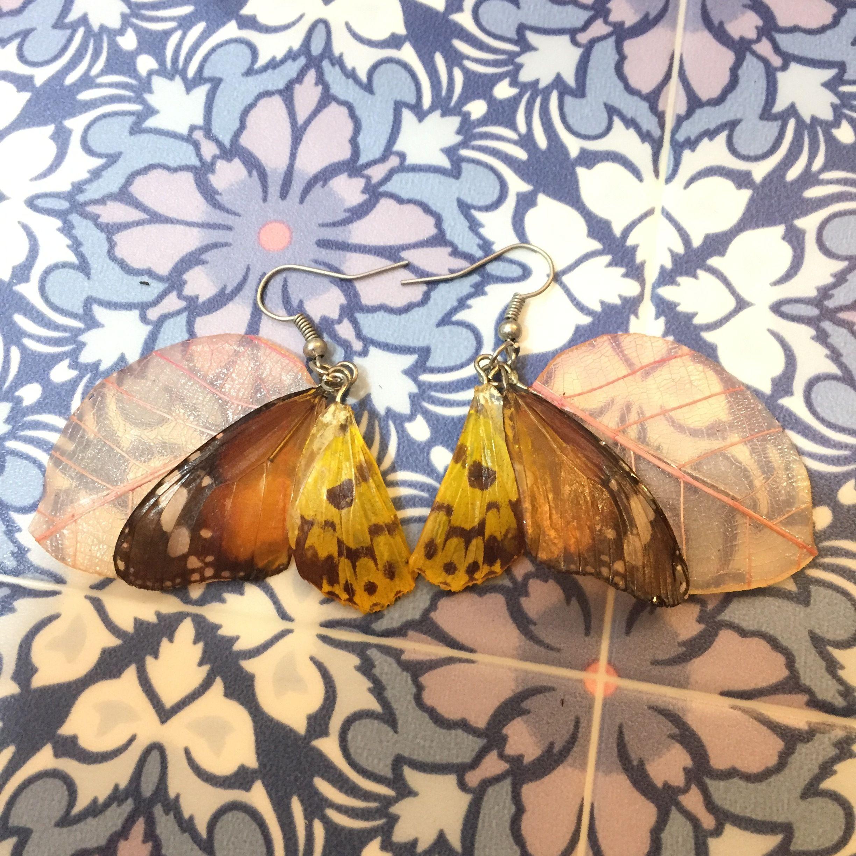⑪葉と蝶の標本ピアス(天然、黄色、桃)