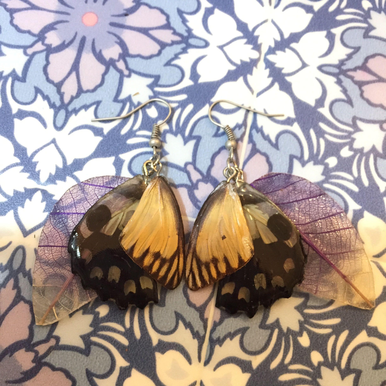 ⑭葉と蝶の標本ピアス(黄、紫、天然)
