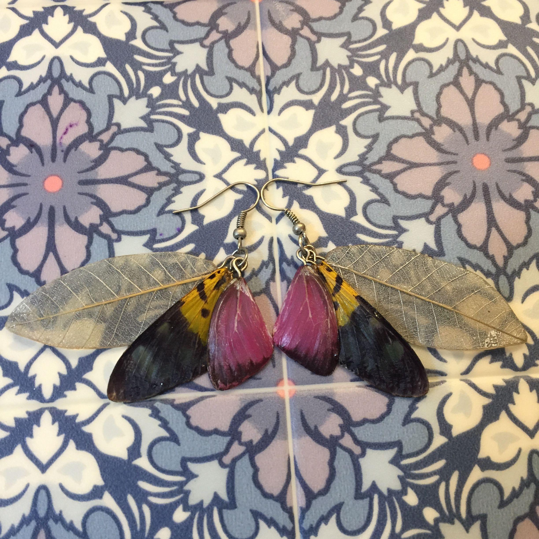 ⑤葉と蝶の標本ピアス(赤紫、灰、黄)