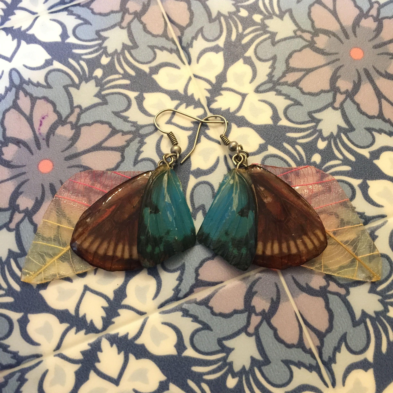 ⑦葉と蝶の標本ピアス(青水、桃、黄)