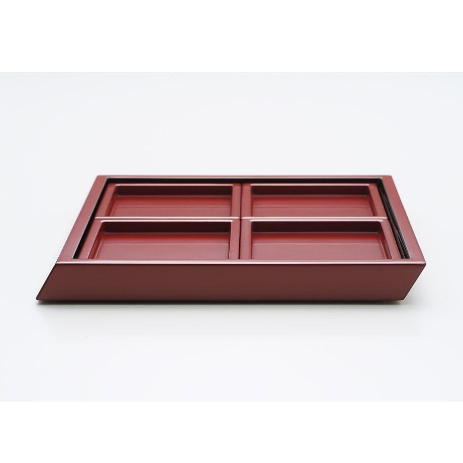 YOnoBI漆器プレートセット katachi Urushi set (L×1, S×4) vermillion