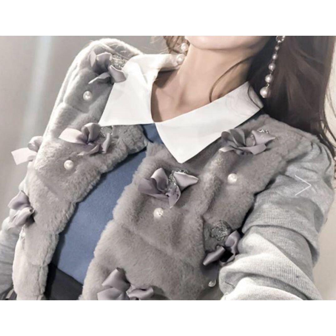 ★年末年始ご挨拶ファッション★雪と宝石の暖かファーカーディガン【グレイ】