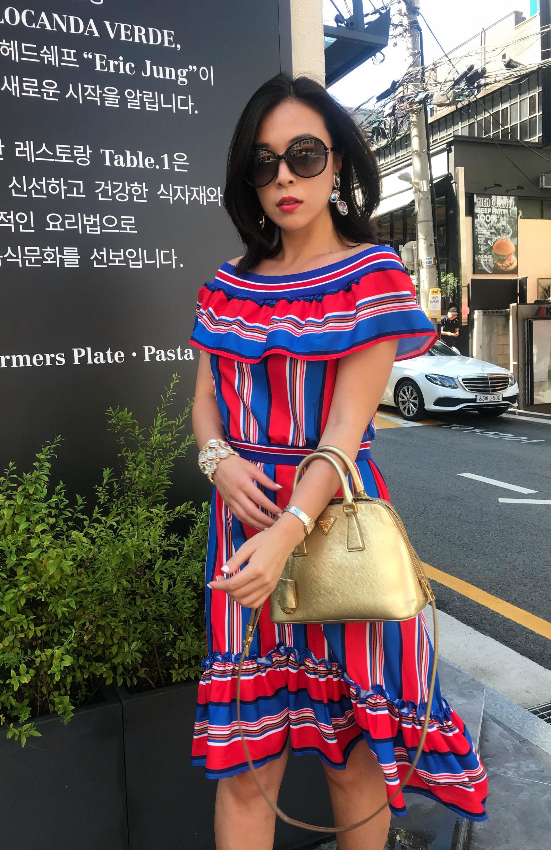 【ユヒャンおすすめ】香港のラグジュアリーホテルのプールサイドでマダムが着ていたワンピース【ウエスト伸縮切り替え】
