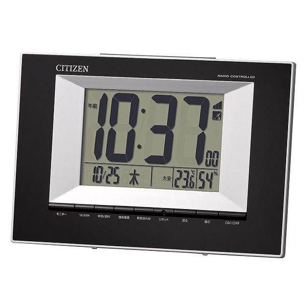 リズム RHYTHM シチズン 電波掛け置き時計 8RZ181-002 ブラック