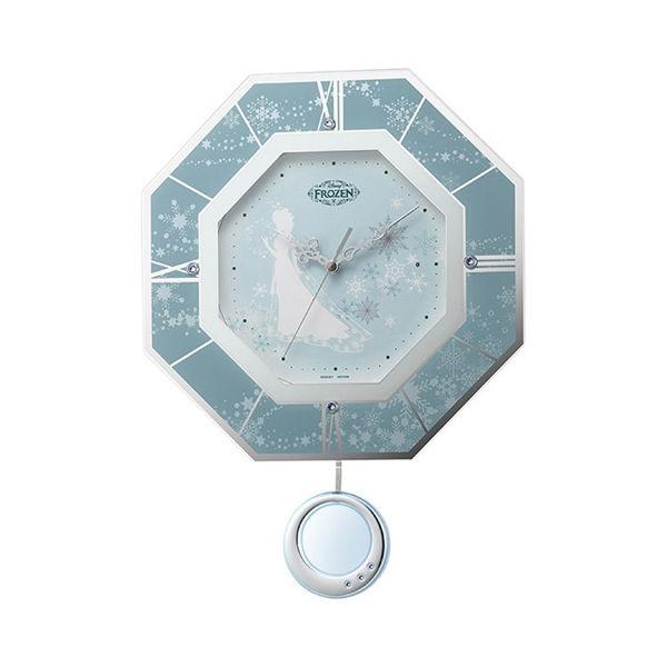 アナと雪の女王 振り子時計 電波 掛け時計 8MX405MC04 ブルー