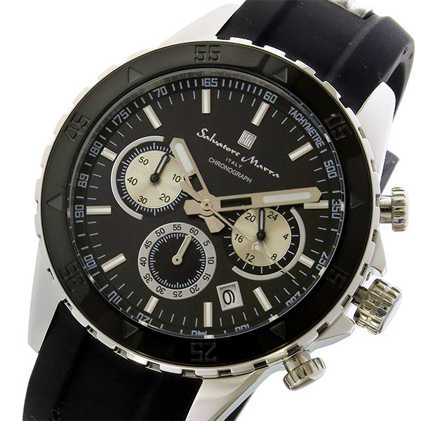 サルバトーレマーラ クロノ クオーツ メンズ 腕時計 SM17112-SSBK ブラック/シルバー