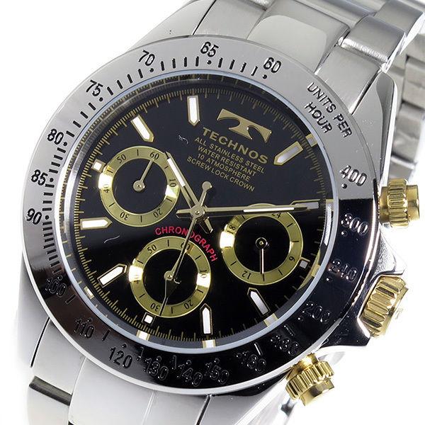 テクノス TECHNOS クロノ クオーツ メンズ 腕時計 TSM401LB ブラック