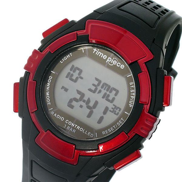 タイムピース TIME PIECE 電波時計 デジタル メンズ 腕時計 TPW-002RD ブラック/レッド