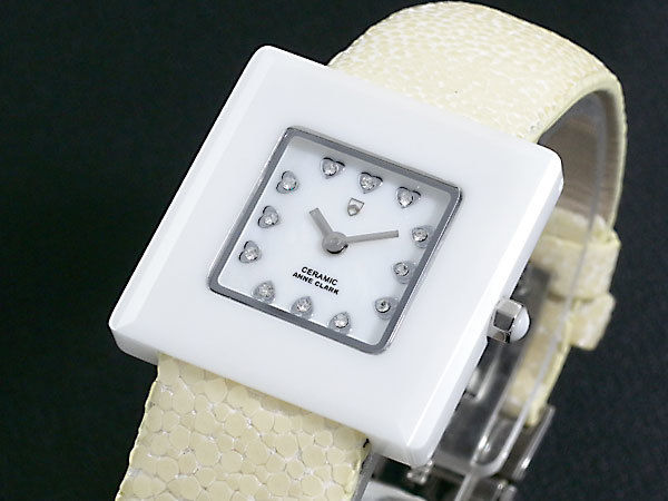 アンクラーク ANNECLARK セラミック&エイ革 レディース 腕時計 AU1029-09