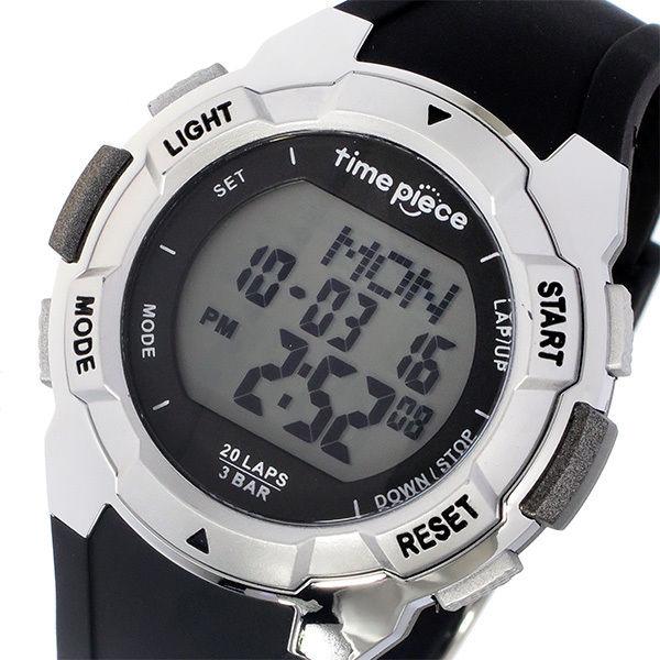 タイムピース TIME PIECE ランニングウォッチ デジタル メンズ 腕時計 TPW-004SV ブラック/シルバー