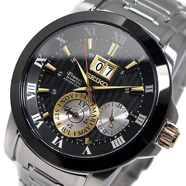 セイコー プルミエ キネティック クオーツ メンズ 腕時計 SNP129P1 ブラック