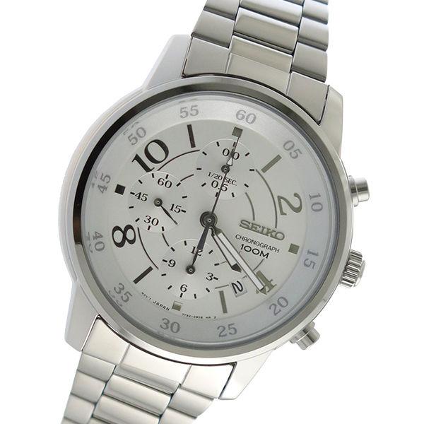 セイコー SEIKO クロノ クオーツ ユニセックス 腕時計 SNDW87P1 ホワイトシルバー