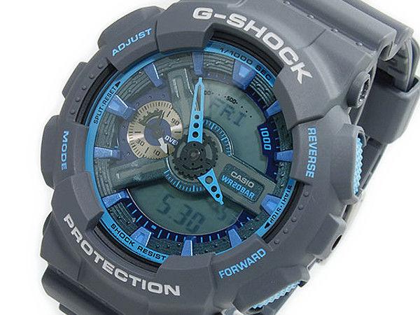 カシオ CASIO Gショック G-SHOCKアナデジ メンズ 腕時計 GA-110TS-8A2 グレー×アクアブルー