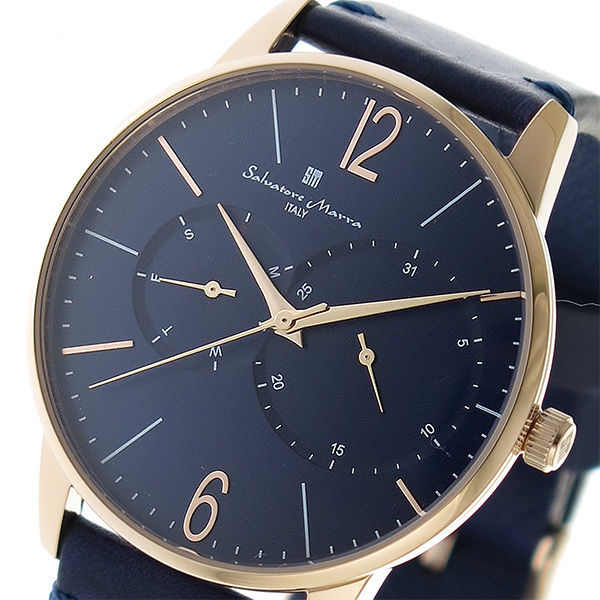サルバトーレマーラ SALVATORE MARRA クオーツ メンズ 腕時計 SM18105-PGBL ブルー