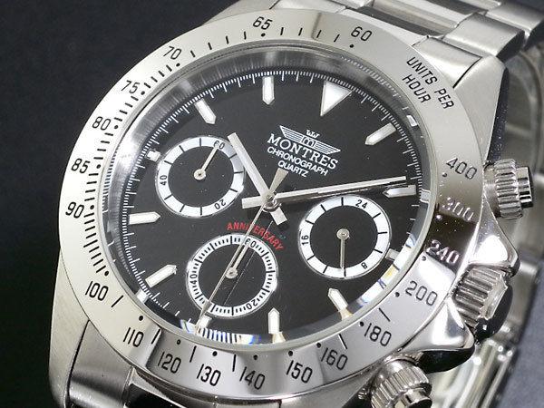 モントレス MONTRES クロノグラフ メンズ 腕時計 MS68199-BK ブラック