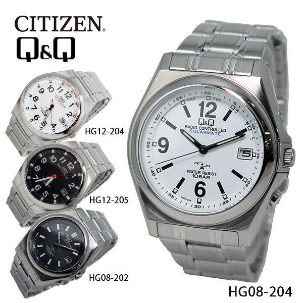 シチズン キューアンドキュー ソーラー 電波 メンズ 腕時計 HG08-204 ホワイト
