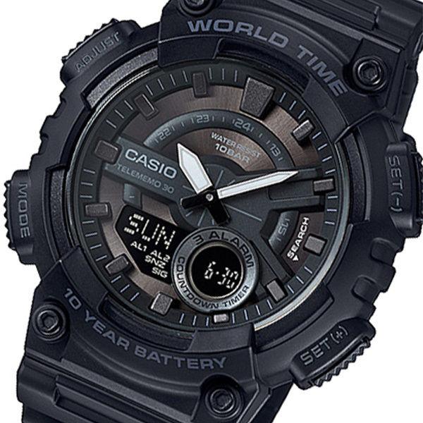 カシオ CASIO アナデジ クオーツ メンズ 腕時計 AEQ-110W-1BJF メタルブラウン 国内正規