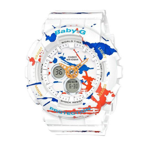 カシオ CASIO ベビーG スクラッターパターン アナデジ クオーツ レディース クロノ 腕時計 BA-120SPL-7A ホワイト