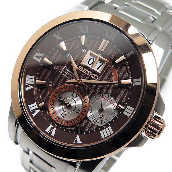 セイコー プルミエ キネティック クオーツ メンズ 腕時計 SNP128P1 ブラウン