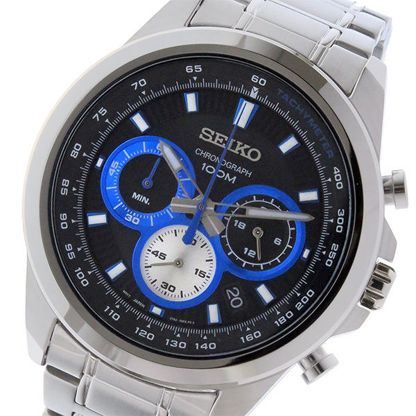 セイコー SEIKO クロノ クオーツ メンズ 腕時計 SSB243P1 ブラック