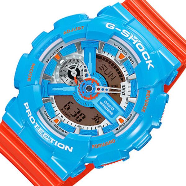 カシオ CASIO Gショック クオーツ メンズ 腕時計 GA-110NC-2A ブルー/オレンジ