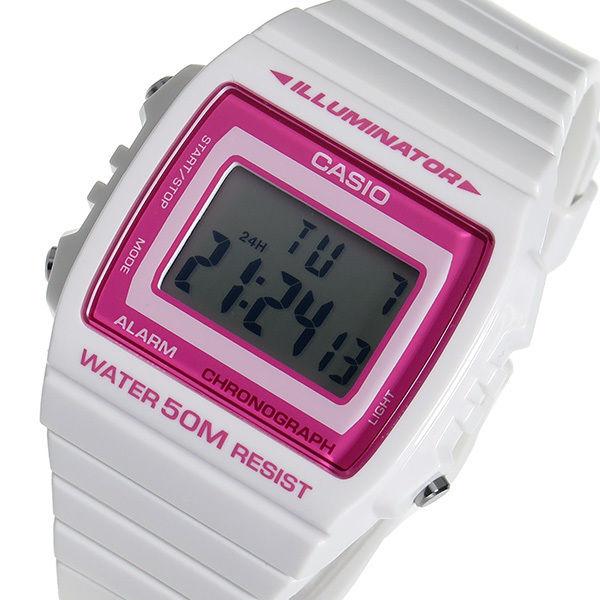 カシオ スタンダード デジタル ユニセックス 腕時計 W-215H-7A2 ピンク/ホワイト